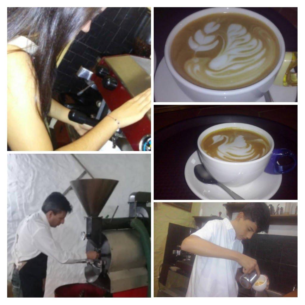 Baristas y tostador en Caroai Cafe